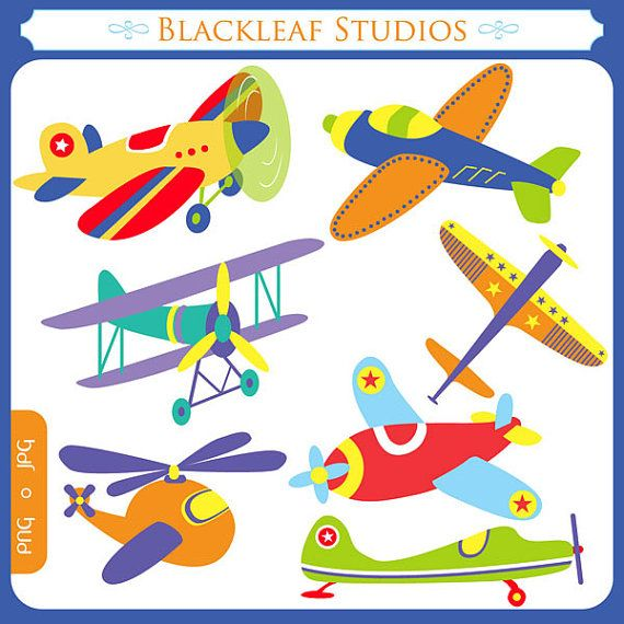 Flying High Airplanes Clipart Set Digital Download Images.
