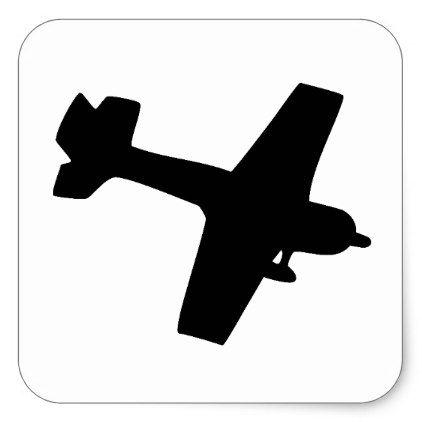 Plane Silhouette Square Sticker.