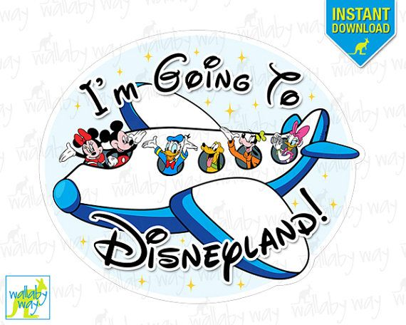 I\'m Going to Disneyland! Mickey Airplane Printable Iron On.