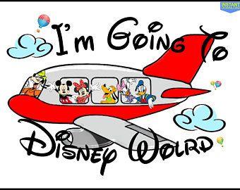 I\'m Going to Disney World Mickey Airplane Printable Iron On.