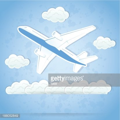 Airplane and clouds Clipart Image.