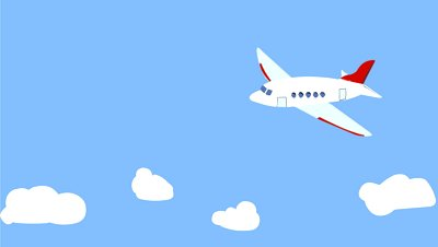 Cartoon Airplane Flying Over The Clouds Stock Footage Video.