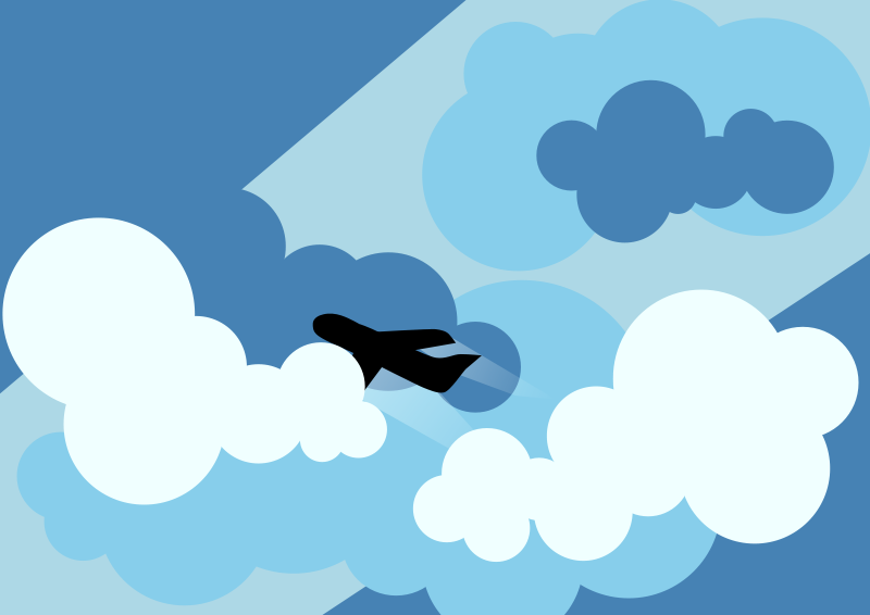 Free Clipart: Plane silhouette flying through clouds.