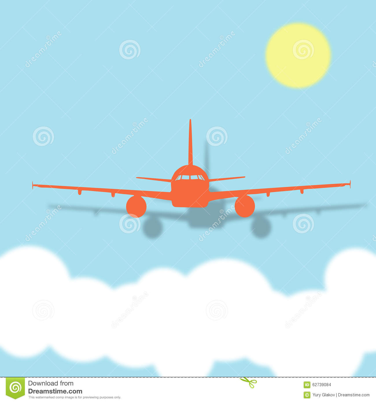Airplane Above The Clouds Clipart.