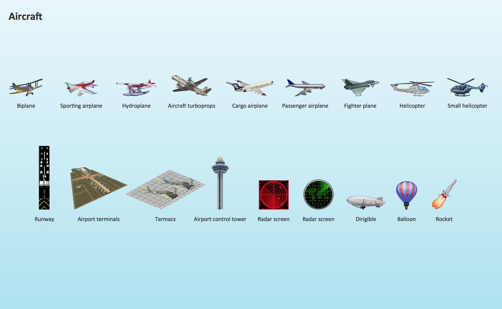 Aircraft Design Element. Aerospace illustrations.