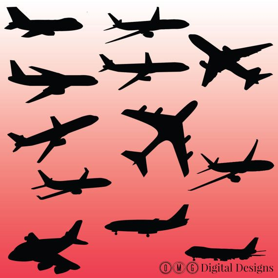 12 Airplane Silhouette Digital Clipart Images by.