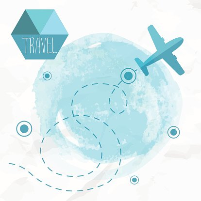 Travel by plane. Airplane on his destination route. Clipart.