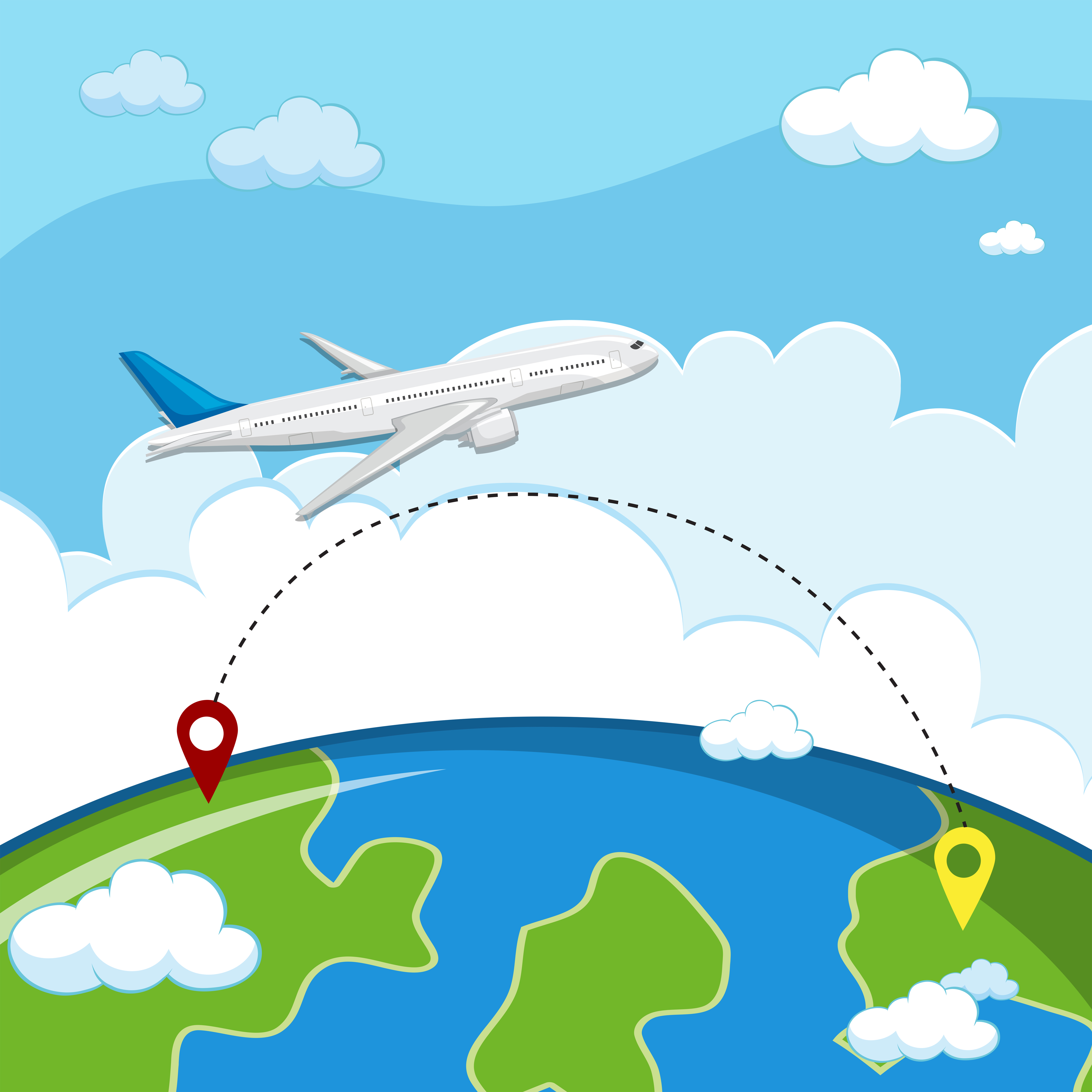 Airplane Destination Free Vector Art.