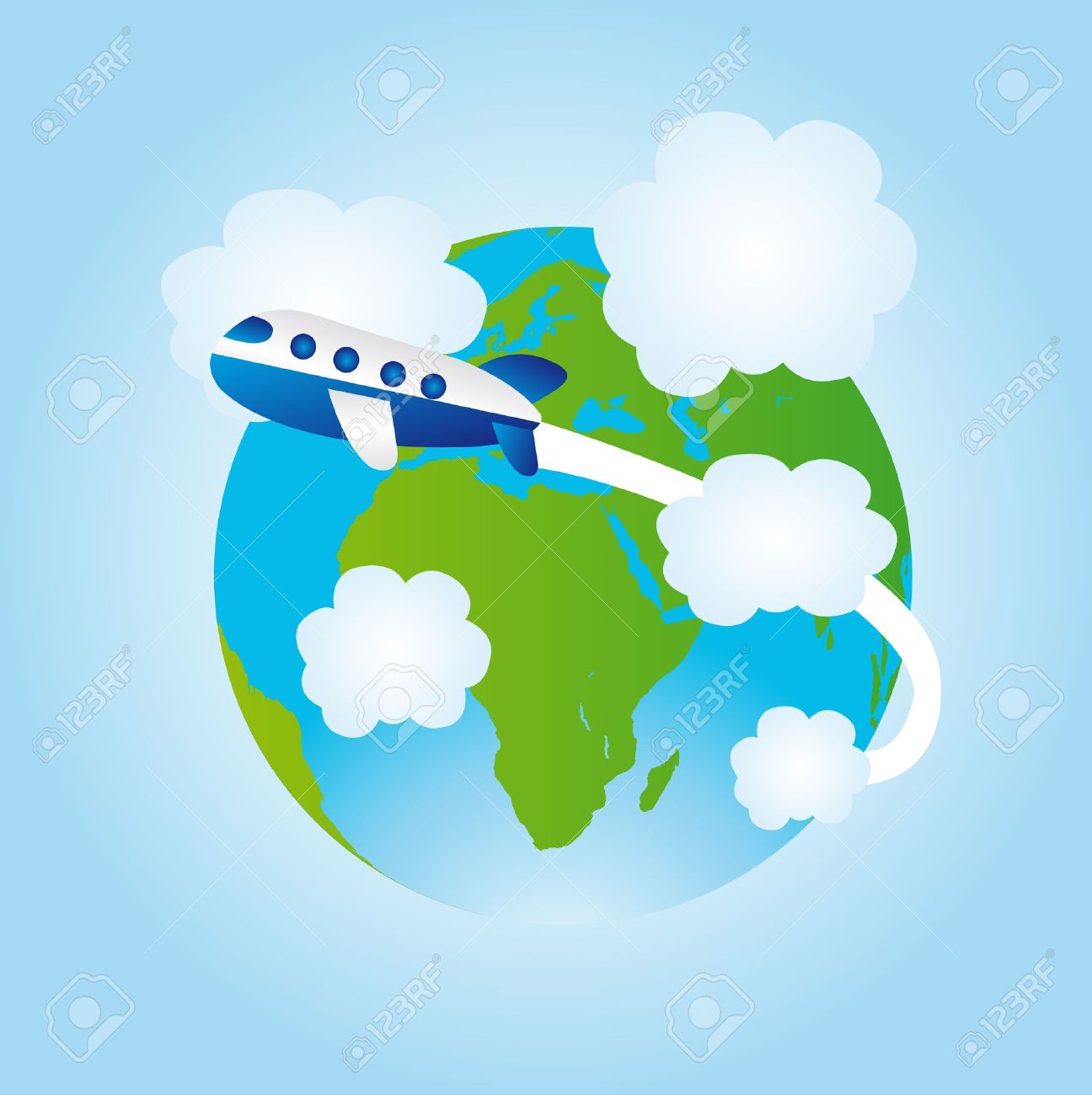 Travel Around The World Clipart Airplane Earth Icon Image.