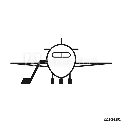 Aircraft front view outline icon. Clipart image isolated on.