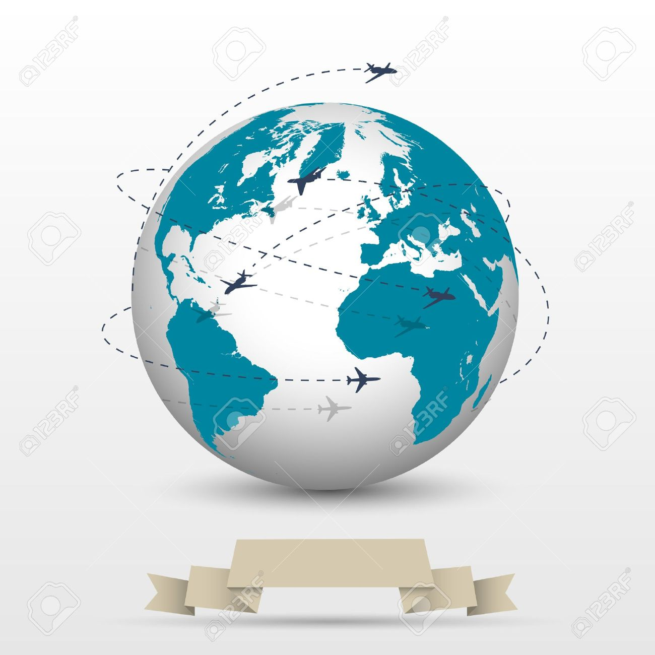Airplane Flying Around The World Clipart.