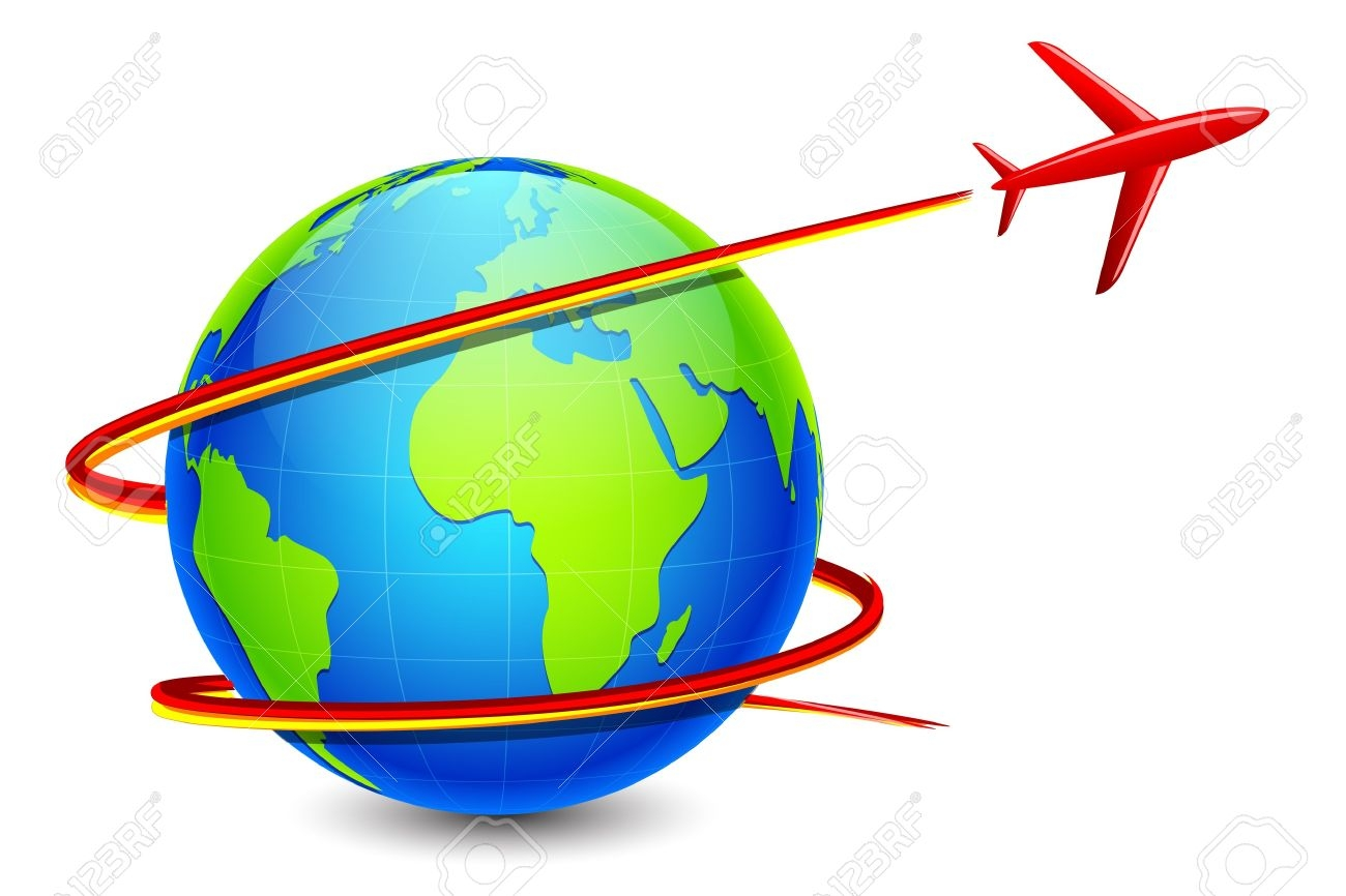 Globe And Plane Clipart.