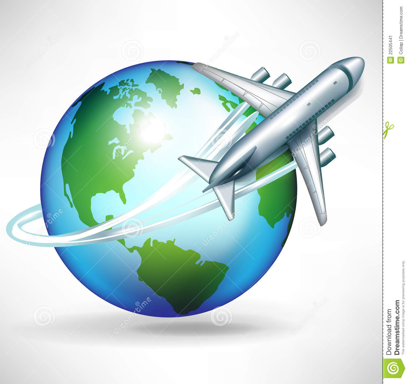 Globe With Airplane Clipart.