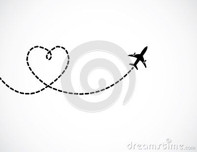 A Airplane flying in the white sky leaving behind a love.