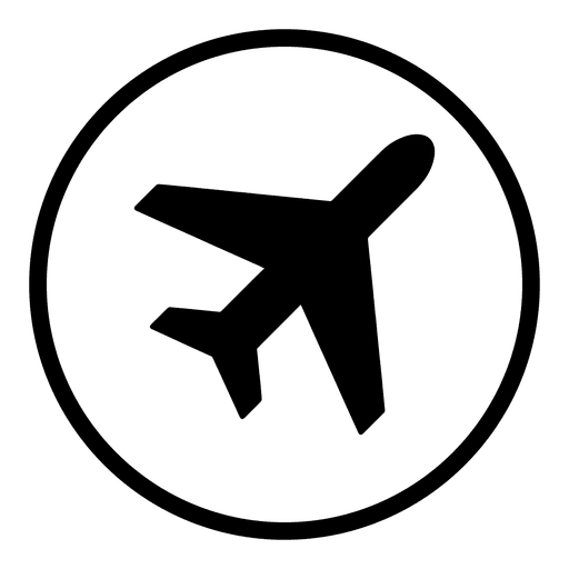 Plane airport round icon.