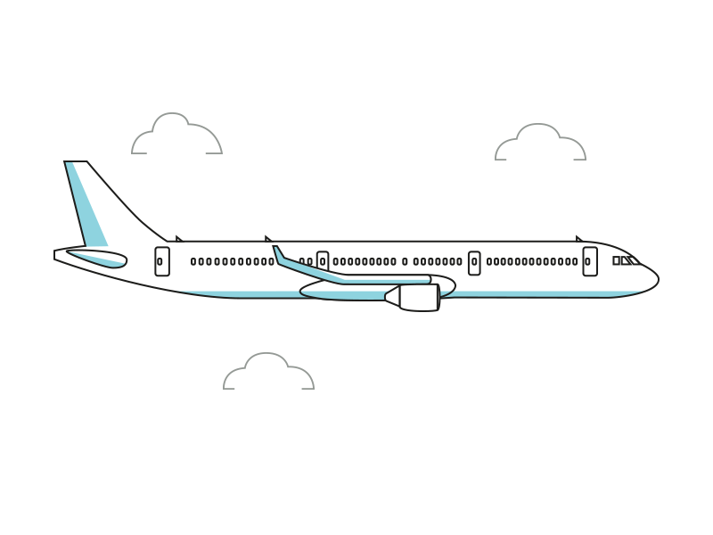 Airplane line illustration by Joakim Agervald on Dribbble.