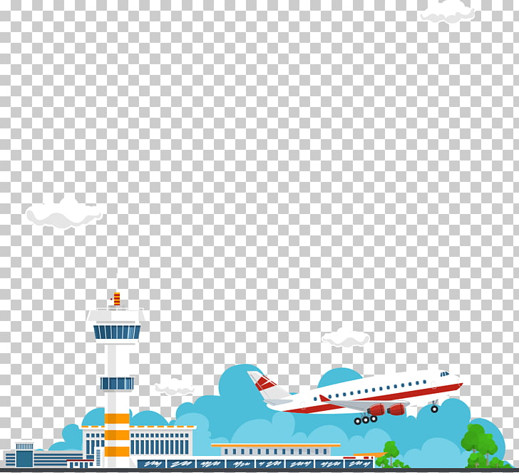 Airplane Graphic design, aircraft and control tower PNG.