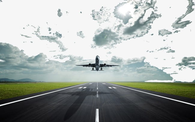 Aircraft taking off and runway clouds PNG clipart.