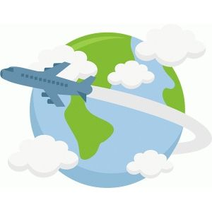 Plane flying around world.