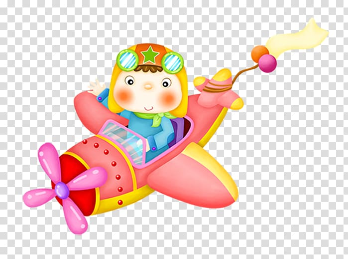 Boy ride on plane art, Airplane Paper Cartoon , cute cartoon.
