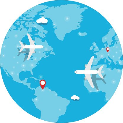 aircraft, Plane flying, world map, earth Clipart Image.