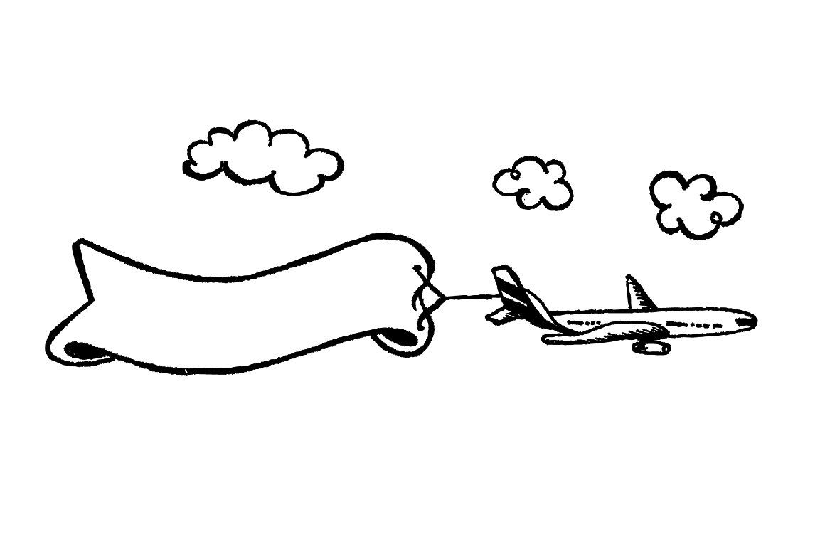 Airplane Banner Message Sketch #layered#files#add#color.