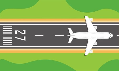 Airplane on a runway Clipart Image.