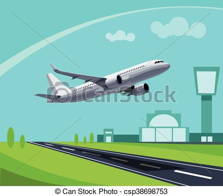 Airport with Runway and flying Plane Concept Illustration. Template for  Infographic..