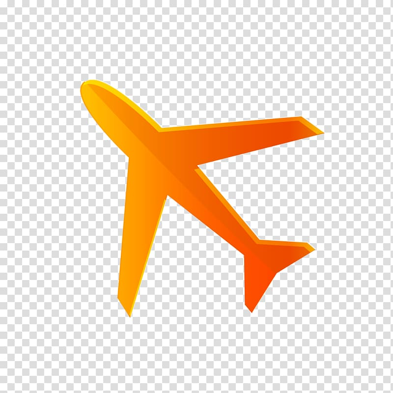 Airplane Aircraft Icon, Orange airplane icon transparent.