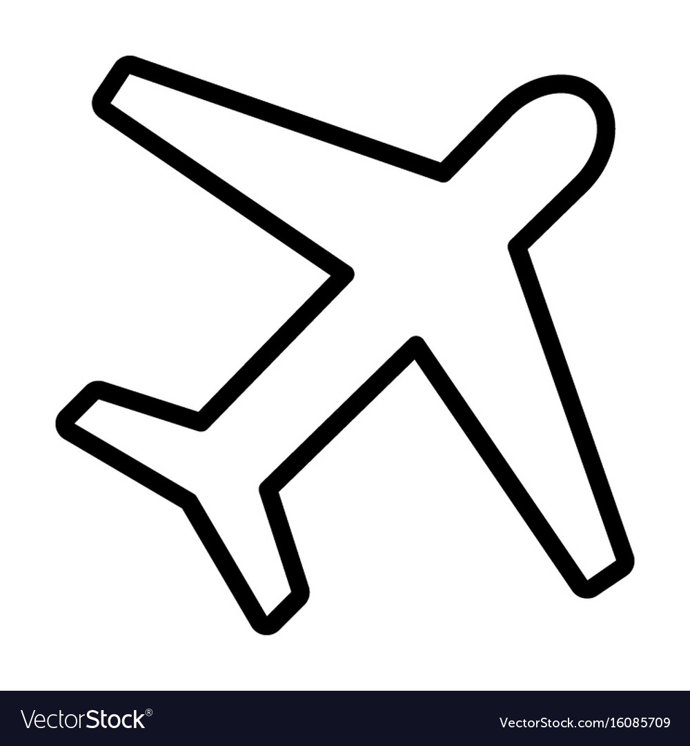 Airplane line icon plane symbol outline style.