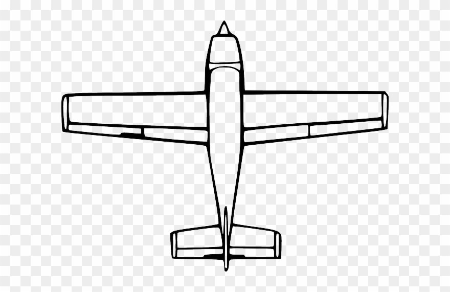 Top, View, Outline, Drawing, Cartoon, Airplane, Down.