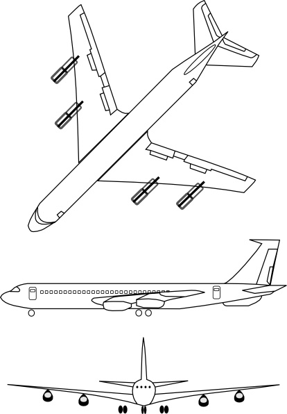 Airplane Outline clip art Free vector in Open office drawing.