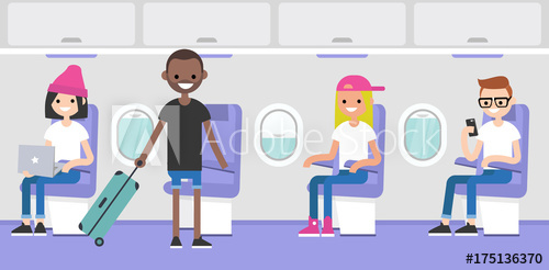 Airplane interior. Passengers boarding on a plane. Flight in.