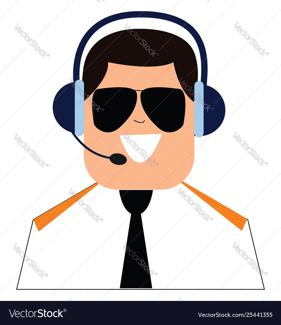 Clipart pilot with headset and controlling.