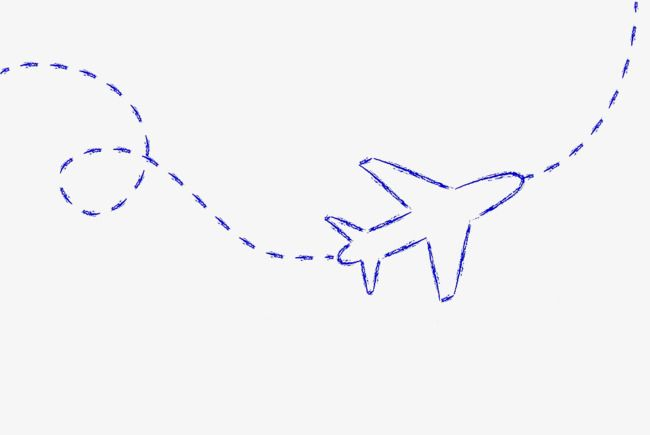 Blue Hand Drawn Aircraft Route, Dotted Line, Route, Blue PNG.
