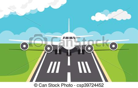 Plane on an airport runway.
