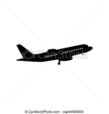 Flying Plane sign. Side view. Flat style black icon on white..