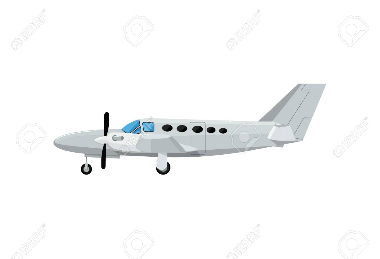 Private turbo propeller airplane icon. Side view screw aircraft,...