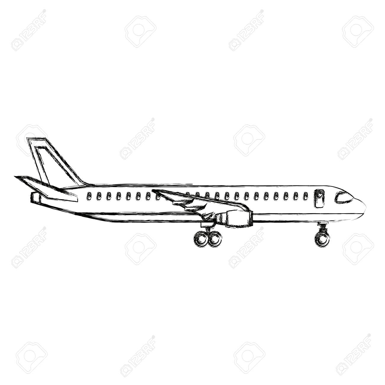 airplane side view travel passenger commercial vector illustration.