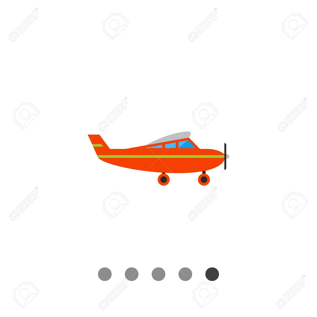 Multicolored vector icon of kids plane, side view.