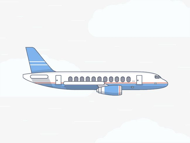 Cartoon Airplane Creative Side View.
