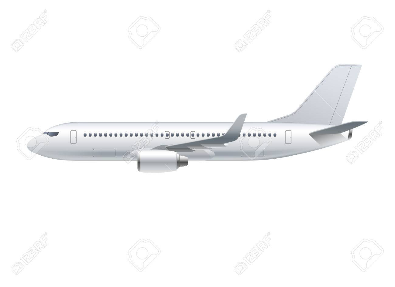 Flying airplane, jet aircraft, airliner. Side view of detailed...
