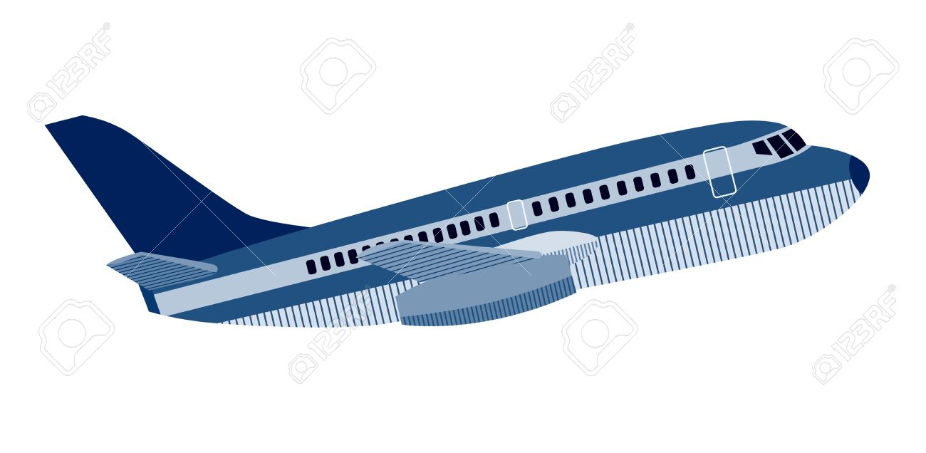 Jumbo jet plane side view.