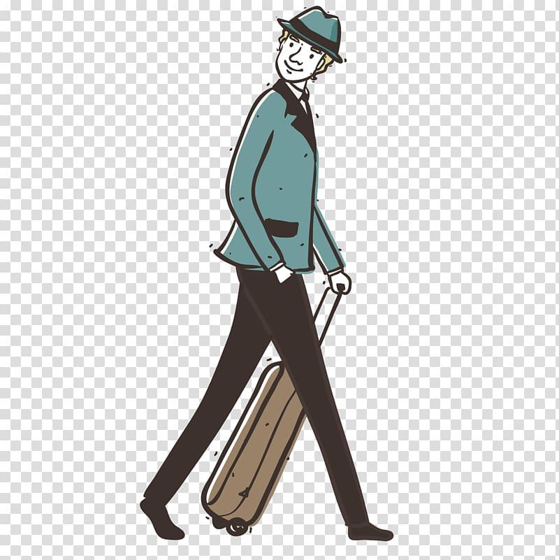 Airplane Suitcase Baggage Illustration, Travel boy.