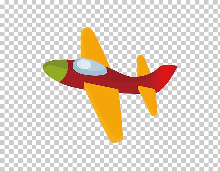 Airplane Aircraft Flight, Cartoon toy plane, orange and red.