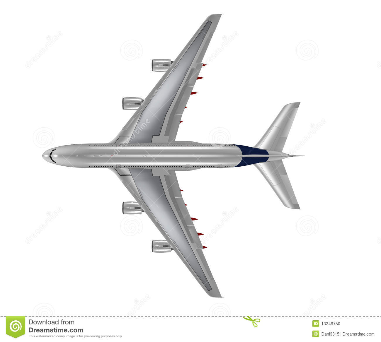Airplane Top View Clipart.