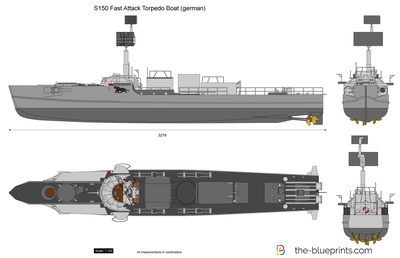 S150 Fast Attack Torpedo Boat (german) vector drawing.