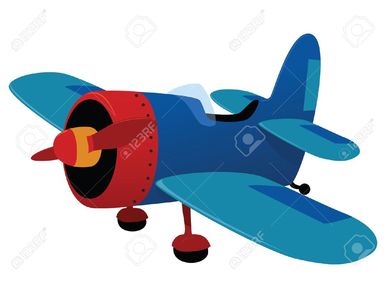 Retro Plane Toy. Vector Illustration Royalty Free Cliparts.
