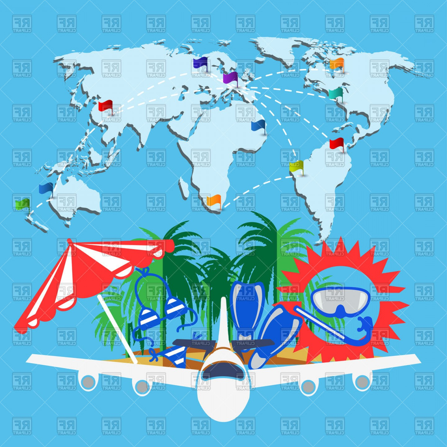 World Travel Map With Airplanes Illustration 25225804.