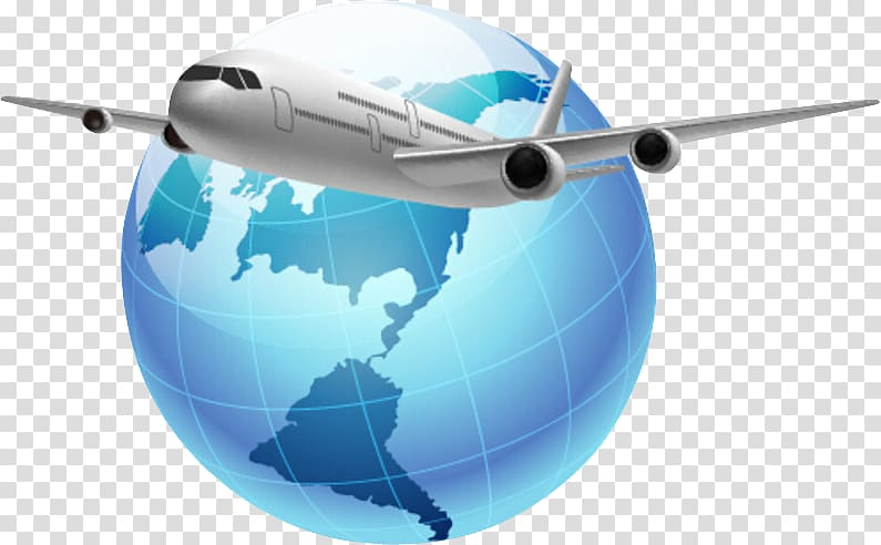 White airlines and blue globe illustration, Globe Airplane.